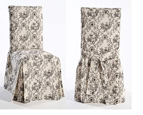 Classic Slipcovers TOILE50BLK Slipcover, Dining Chair, Black/Cream