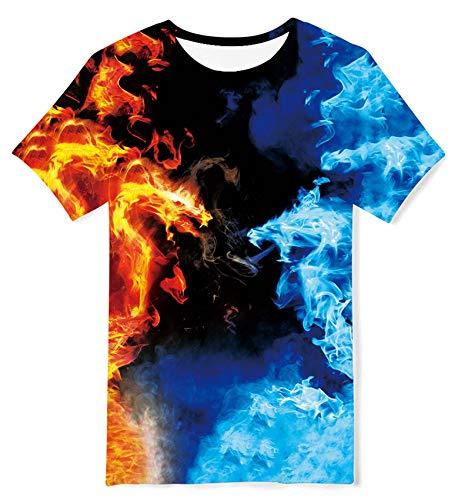 ALISISTER Jungen Mädchen T-Shirt Lustige Galaxy Dragons Grafik Kurzarm Tee Shirts mit Rundhalsausschnitt Kinder Sommer Strand Urlaub Tops