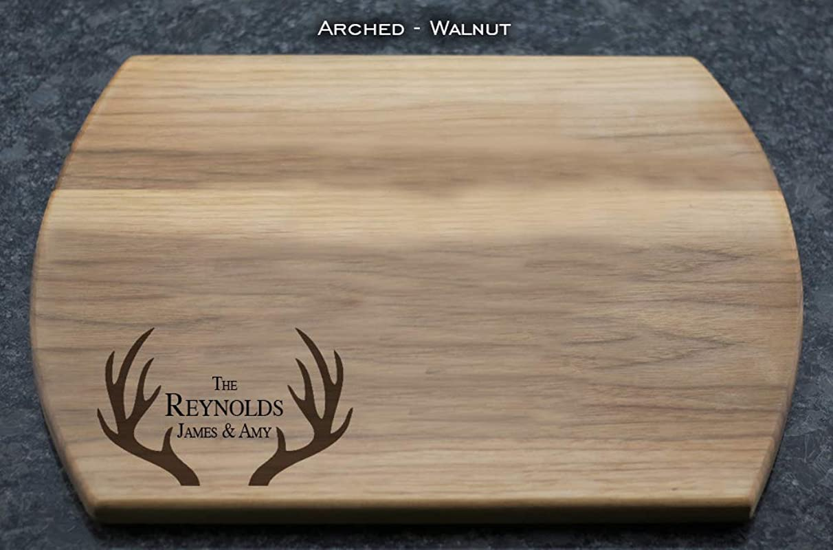 Antlers Personalized Engraved Cutting Board With Couple S Names And Last Name In Maple Cherry Walnut Or Mahogany Wedding Gift Anniversary Gift House Warming Gift