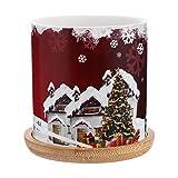 NICEXMAS Suculentas Macetas de Cerámica Árbol de Navidad Santa Claus Copo de Nieve Maceta Mini Cactus Maceta Florero con Bandeja de Madera para Mesa de Vacaciones(Color aleatorio)