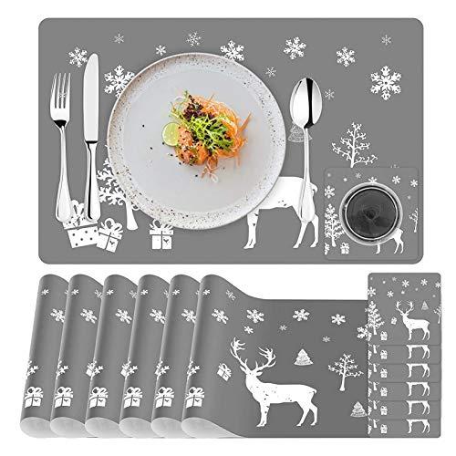 6 Sätze Platz-Matten und Telleruntersetzer,Weihnachten Tischset,Weihnachten Tischdekoration,Platz-Matten für Küche Speisetisch,Weihnachten Platzset,Tisch-Matten Hitzebeständige Wasserdichtes(12 Stück)