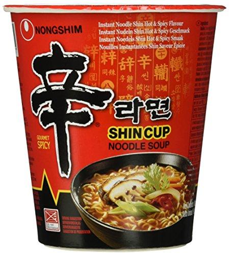 Nong Shim Instantsnack Shin Ramyun – Koreanische Cup Suppe scharf - schnelle Zubereitung – 12er Vorteilspack à 68g