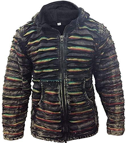 Shopoholic Mode Herren Schwarz Zerrissen Gestreift Gothik Klang Winter Hippie Jacke - Schwarz, XX-Large