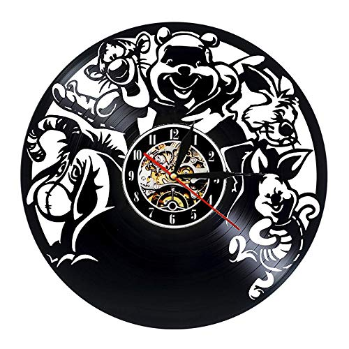 FDGFDG Anime 3D Vinyl Schallplatte Wanduhr modernes Design Bär Cartoon Uhr Dekoration Kinderzimmer Wanduhr Home Dekoration Geschenk für Kinder