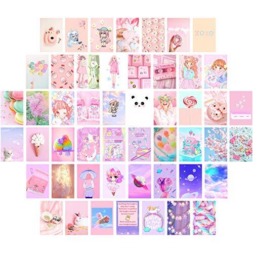 JACK MEETS KATE Kawaii Room Decor Cute Room Decor For Bedroom Aesthetic Photo Wall Collage Kit 4'x6' 50 Pictures Aesthetic Room Decor For Teen Girls Anime Room Decor Teen Room Decor Pink Room Decor