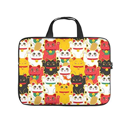 Bolsa para ordenador portátil con diseño de gato japonés de la suerte para el trabajo, el negocio