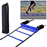 H&H 12 Rung Agility Ladder, Agility Training Ladder Speed Training Equipment with Carry Bag, Football Flexibility Training Jumping Ladder (Blue)