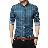 iHENGH Chemise à Manches Longues à Manches Longues pour Hommes Carreaux Coton Slim Fit Casual Mince Taille