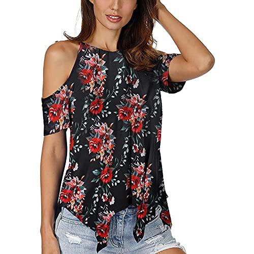 AMhomely Camisas y blusas para mujer con impresión de señoras, manga corta, blusa informal de verano para oficina, talla británica
