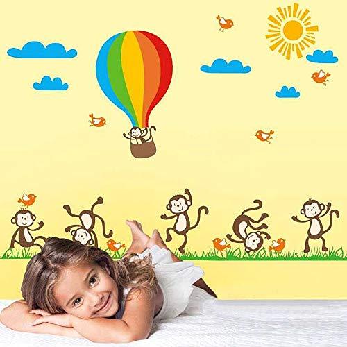 Walplus Autocollant Mural Monkey Balloon Mignon Animal Cartoon Maison Décoration DIY Bureau Décor Peint Crèche Chambre Enfants Cadeau, Multicolore
