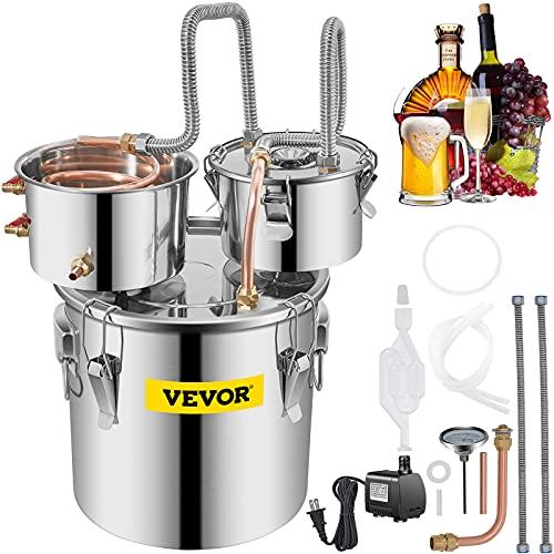 VEVOR Alambicco Distillatore con Tre Fusti 3.3Gal/12.3L, La Caldaia per Acqua Distillata in Acciaio e Rame Rosso, Distillatore d'Acqua, Distillazione per la produzione di Vino Whisky Brandy Vodka