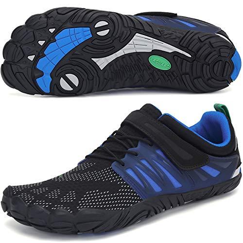SAGUARO Barfußschuhe Damen Herren Indoor Outdoor Barfuß Traillaufschuhe Wanderschuhe rutschfest Kletterschuhe Leicht Fünf-Finger-Schuhe Strandschuhe(058 Blau, 42 EU)
