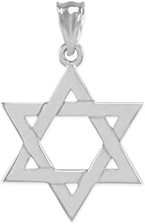 Solid 925 Sterling Silver Traditional Jewish Star of David Charm Pendant (Medium)