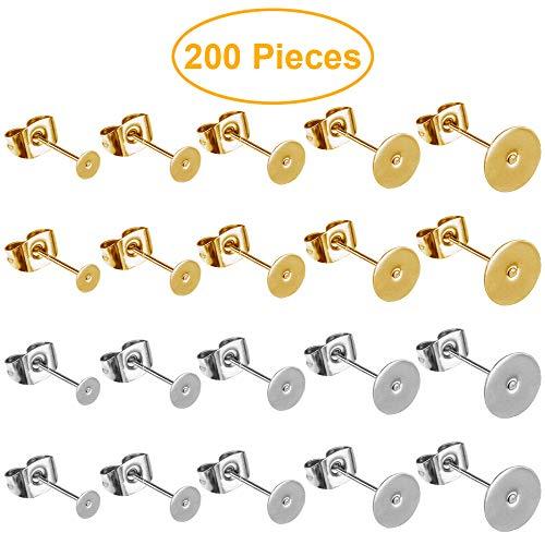 100 Paar (200 Stück) 5 Größen 100 Stück 5 Größen Edelstahl Ohrringe Stecker flach Pad mit Schmetterling-Verschlüssen für Ohrringe Herstellung von Ohrringen (Silber und Gold)