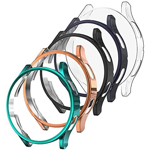 Bigqin [5 Pezzi] Custodia Compatibile per Samsung Galaxy Watch 4 44mm,TPU Protezione Cover Protettiva Compatibile per Galaxy Watch 4,Nero/Oro rosa/Trasparente/Verde/Grigio