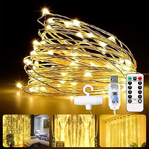 LED Lichterkette 300 LEDs, Lichtervorhang 3m x 3m, USB Lichterkettenvorhang Warmweiß, Vorhanglichter mit 8 Modi Fernbedienung für Party deko, schlafzimmer, Innenbeleuchtung