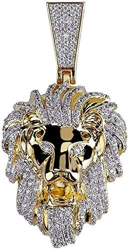 LKLFC Collar Colgante Collar de Cadena Mujer Hombre Collar Hombre Hip Hop Collar Chapado en Oro de 18 Quilates Iced out Cubic Zirconia León Colgante con Cadena de Cuerda Regalo