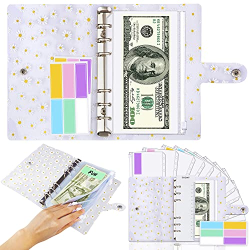 Daisy A6 Binder Cover and 12 Clear Envelopes, Budget Binder with Cash Envelopes for Budgeting, Binder Pockets Cash Envelope Wallet, Budget Planner Organizer, Cash Envelope Binder with Budget Envelopes