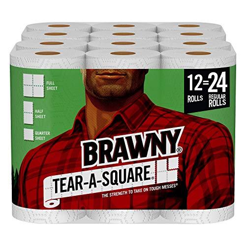 Brawny Tear-A-Square Paper Towels, 12 Double Rolls = 24 Regular Rolls, 3 Sheet Size Options, Quarter...