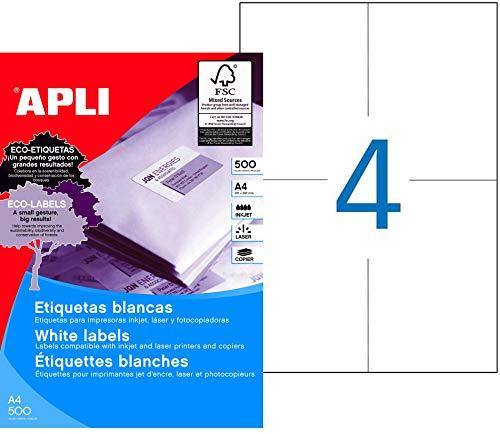 APLI 1797 - Etiquetas blancas permanentes 105,0 x 148,0 mm 500 hojas