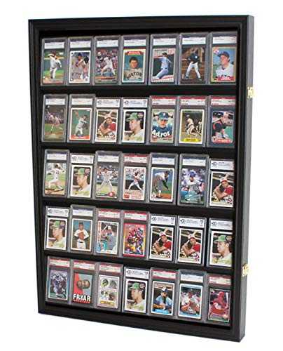 Lockable 35 Graded Sports Card Display Case, for Football, Baseball, Basketball, Hockey Comic Collectible Cards (Vertical-Black Finish)