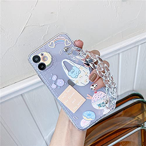 LIUYAWEI Funda de teléfono Transparente con Cadena de Moda para iPhone 12 11 Pro MAX 7 8 Plus SE 2020 X XR XS MAX Capa Cute Cartoon Soft Cover, YY187,2, para iPhone7