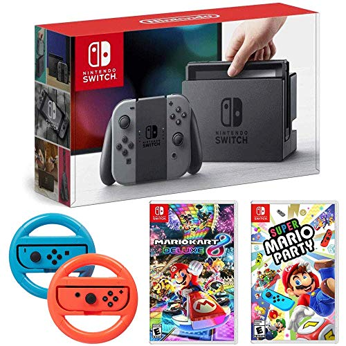 Nintendo Switch 32GB Console with Gray Joy Con Bundle w/Super Mario Party, Mario Kart 8 Deluxe and Steering Wheel Blue/Red 2-Pack
