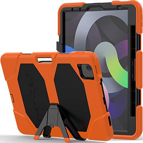 TECHGEAR G-Shock Funda Compatible con iPad Air 4 2020 (4a generación) - Funda Protectora Prueba de Choques con Soporte - Carcasa Niños Escuelas Constructores Trabajadores [Naranja]