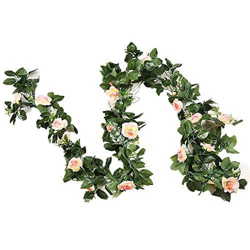 GoodFaith Guirnalda de flores artificiales para colgar en forma de rosas, para decoración del hogar, champán.