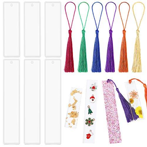 6 Pack DIY Bookmark Resin Mold Rectangle Bookmark Silicone Molds with 6 Pieces Colorful Tassels for Jewelry DIY Craft (6)