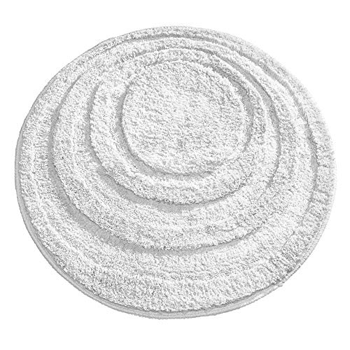 mDesign Soft Microfiber Polyester Non-Slip Round Spa Mat, Plush Water Absorbent Accent Rug for Bathroom Vanity, Bathtub/Shower - Concentric Circle Design, Machine Washable - 24' Diameter - White