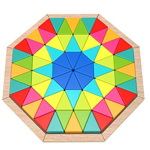 Tooky Toy Octagon Puzzle - Kinder-Spielzeug Geometrie Holz-Puzzle Farben-Spiel Holzspielzeug - buntes Oktagon Puzzle für Kinder