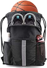BeeGreen Drawstring Backpack Bag with Shoe Compartment X-Large Black Gym Sports String Cinch Backpack Athletic Sackpack with Front Inside Zipper Pockets and Mesh Water Bottle Holders for Women Men