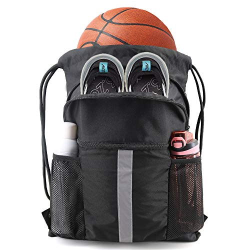 Drawstring Backpack Bag with Shoe Compartment X-Large Black Gym Sports String Cinch Backpack Athletic Sackpack with Front Inside Zipper Pockets and Mesh Water Bottle Holders for Women Men