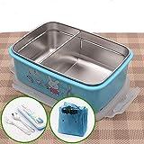 bento box lunch box Suministros de picnic de la caja de comida Caja de comida caja de almuerzo repetible de plástico compartimento lindo-Blue Rabbit Set