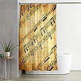 Hiser Duschvorhang aus Polyester Wasserdichter, Waschbare Duschvorhänge mit 12 Duschvorhangringen, Duschvorhang mit Musikdruck, Badewannevorhang für Badezimmer (Gelbe Noten,120x180cm)