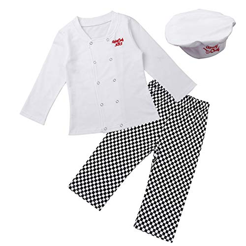 QinCiao Infant Baby Boys Cook Chef Costumes Halloween Cosplay Party Outfit Long Sleeve Shirt Tops with Pants Hat Set White 18-24 Months