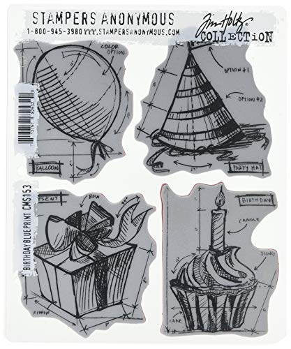 Stampers Anonymous Tim Holtz Cling Rubber Stamp Set, 7 by 8.5-Inch, Birthday Blueprint