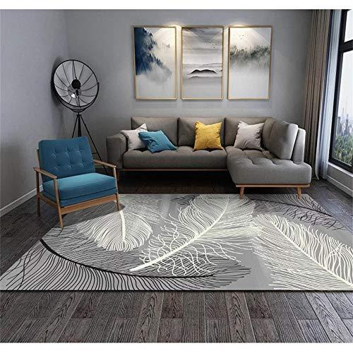 Kunsen sofá Cama Moderno Habitaciones Matrimonio Completas Sala de la Sala de Estar Gris Alfombra patrón de Pluma Terciopelo Corto Caminar Comodidad alfombras pequeñas 60X90CM 1ft 11.6' X2ft 11.4'