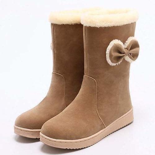 ZHRUI Stiefel de Nieve para el Invierno Cálidas para damen schuhe de algodón Ocasionales Mate Stiefel para damen con Lazo Lindo, schwarz, 38 (Farbe   braun, tamaño   34)
