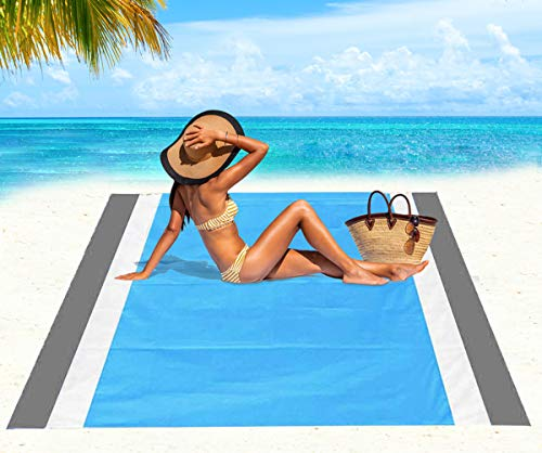 Beach Blanket, Beach Mat Outdoor Picnic Blanket Large Sand Free Compact for 4-7 Persons Water Proof And Quick Drying Beach Mat Mady by Premium Nylon Pocket Picnic Sheet For Outdoor Travel ( 78 X 81)