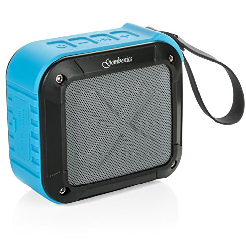 Wireless Bluetooth 4.1 Speaker by Gembonics, Best Shockproof Waterproof Shower Speakers with 10 Hour Rechargeable Battery Life, Powerful Audio Driver, Pairs with All Bluetooth Devices (Blue)