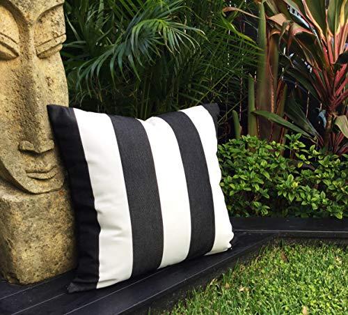 N/ A Schwarz-weiß gestreifte Outdoor-Kissen, Sonnenschirm-Bezug, nur anthrazitfarbene Streifen, Outdoor-Kissen, moderne Kissen