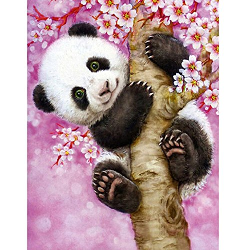 5D Diamond Painting by Number Kit DIY Crystal Rhinestone Arts Craft Picture Supplies for Home Wall Decor,Panda-12.6x16In