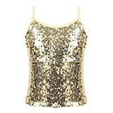 inhzoy Kids Girls Spaghetti Straps Sequins Shiny Camisole Tank Top for Competition Jazz Dance Sportswear Gold 8