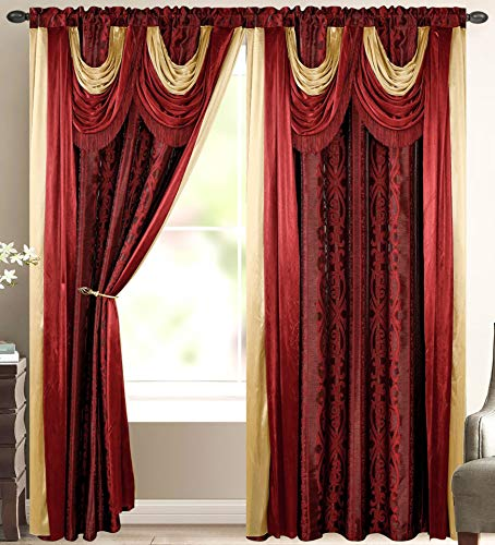 Elena Luxury Jacquard Curtain Panel with Attached Waterfall Valance & Scarf 54 by 84-Inch Burgundy