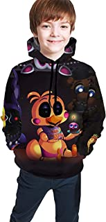 Kmehsv Five Nights at Freddy FNAF Fun Teen Hooded Sweate Black Cómodo Chica Clásica de Niño