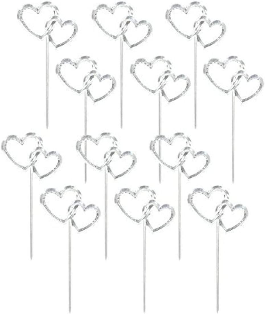 amscan Interlocking Silver Hearts Plastic Picks   Wedding and Engagement Party,3