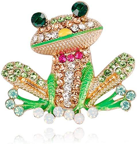 Disunie Frog Brooch Pins for Women Men, Enamel Rhinestone Colorful