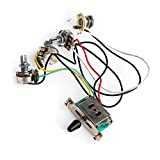 Timiy Knobs 5-Way Switch with Jack Wiring Harness Kit for Strat Style Guitar Replacements Electric Guitar 500K Pots Control
